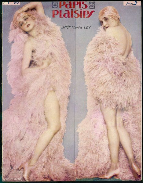 Mademoiselle Maria Ley, draped from head to toe in a large pink ostrich feather boa, and not alot else