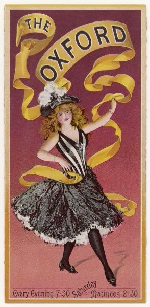 A showgirl with a yellow banner