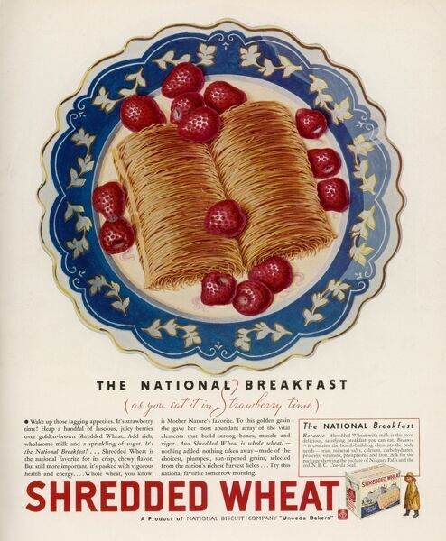 Advertisement for Shredded Wheat promoting it as the national breakfast (served with strawberries)