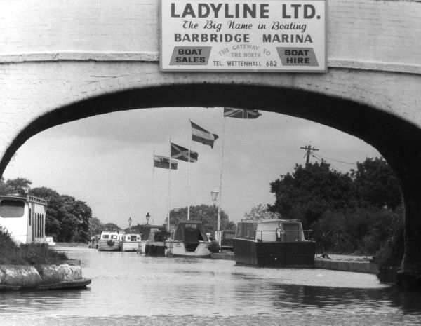 'Ladyline Ltd. - The Big Name in Boating'... a busy scene at Barbridge Marina, Shropshire Union Canal, Wardle, Cheshire, England. Date: 1960s
