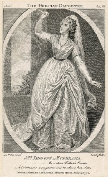 SARAH SIDDONS actress as Euphrasia in Arthur Murphy's 'The Grecian Daughter&#39