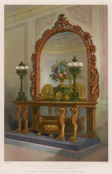 Sideboard and ornaments designed by Marochetti, made by Snell. Two lamps are included, also a metal bowl too big to be a spittoon