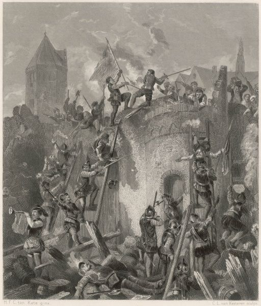 The Spanish besiege Alkmaar, but are foiled by the town's heroic resistance, which will come to symbolise the Dutch determination to win their independence from Spain