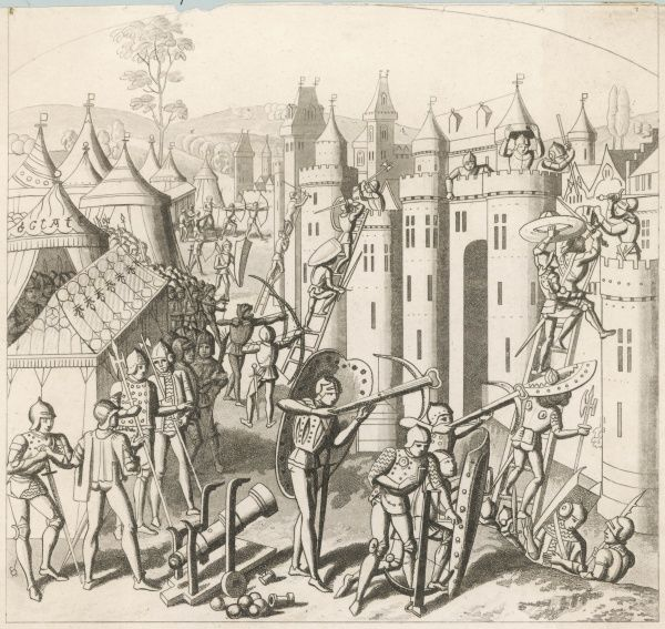 The French lay siege to the town of Duras, storming the walls with scaling-ladders while artillerymen bombard the walls with mortars, bowmen with crossbows