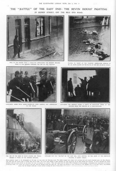 Scenes from the 'Battle' of the East End, the Sidney Street Siege