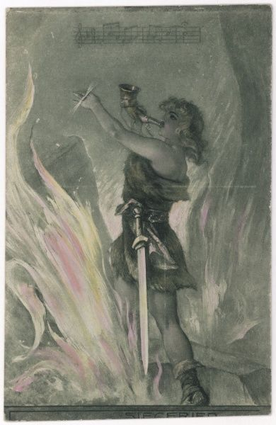 He blows his horn and penetrates the magic flames which encircle the sleeping Brunnhilde