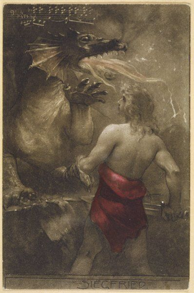 Siegfried confronts Fafner, who has taken on the shape of a dragon while he protects his hoard of treasure