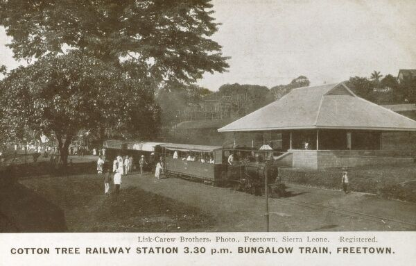 Sierra Leone - Freetown - Cotton Tree Railway Station - The 3:30pm Bungalow Train Date: circa 1905