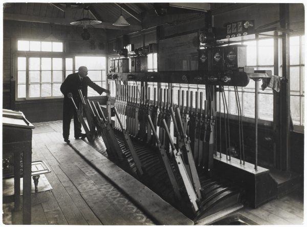 A signal box at Kingston showing a hand-operated frame