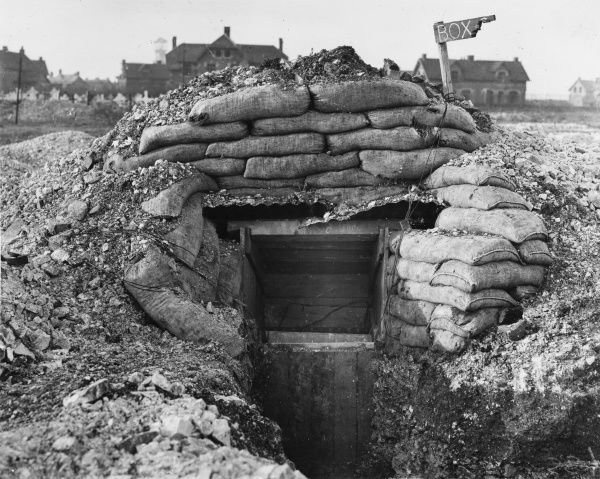 An Army Signal Service dugout in Lindhoek on the Western Front in Belgium during World War I in 1917