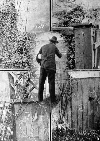 A series of photographs showing burglar's secret signs to their accomplices. The signs are drawn onto houses to warn of the reception they are likely to recieve