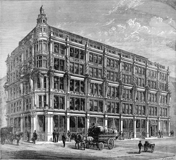 Engraving showing the exterior of Silber and Fleming's Wholesale Warehouses, Wood Street, London, 1884