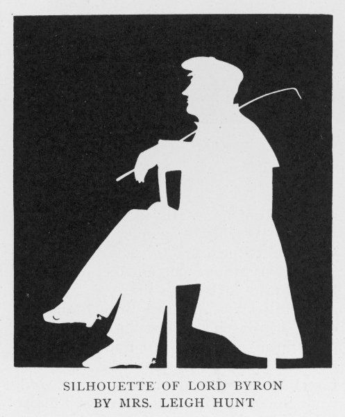GEORGE GORDON, LORD BYRON A silhouette of the English Romantic poet, in profile, sitting on a chair