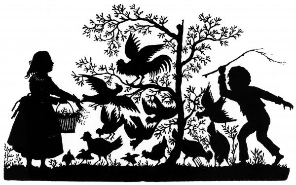 "Silhouette - Children and Birds (""Small Animal-friends"") - by Karl Frohlich 1856"