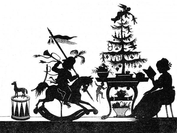 "Silhouette of a little boy playing on a rocking horse pretending to be a cavalry officer (complete with helmet, horn and lance) close to a table-mounted Christmas tree, beside which his Mother sits reading(from ""Frohlich's World of"