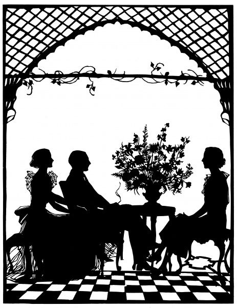 This striking silhouette shows Mr and Mrs Home Robertson of Paxton House, Berwick-on-Tweed, and Mrs J. M. Pryor, wife of Mr J. M. Pryor, of Dane End, Hertfordshire. Mrs Home Robertson and Mrs Pryor were sisters, daughters of the late Lieut.-Col