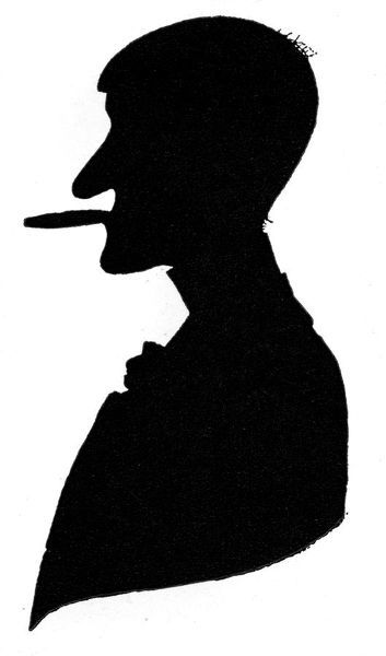 Wonderful silhouette self-portrait of the celebrated English cartoonist, Phil May (1864 - 1903) showing him in profile smoking one of his signature cigars. Date: 1911