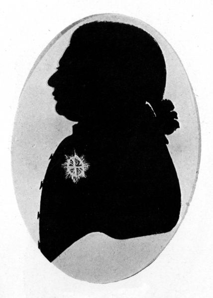 Silhouette portrait of King George III (1738 - 1820). Date: c.1790
