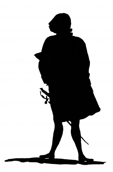 A full-length silhouette portrait of King George III cut by his daughter, Princess Elizabeth who was a keen amateur silhouette artist. Date: c.1790