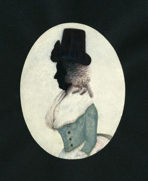 Silhouette portrait of an 18th century lady painted onto plaster. Date: c.1785