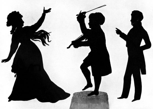 The famous tragedienne, Mrs Siddons (1755 - 1831) depicted by silhouette artist, August Edouart, alongside Tyrone Power (1795 - 1941), Irish comedic actor in the character of D. O' Toole and in ordinary dress. Date: c.1820