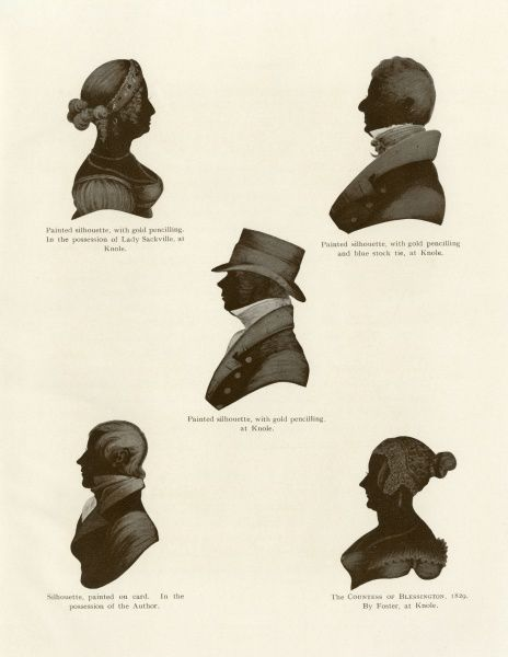 A group of silhouette portraits from the Regency period. Clockwise from top left, a painted silhouette with gold pencilling, a dandyish gentleman in a blue stock tie (silhouette again with gold pencilling), Marguerite, Countess of Blessington (1789 - 1949)