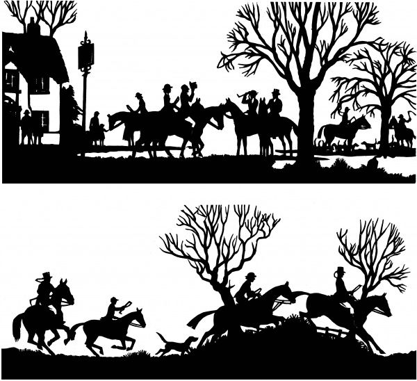 Two silhouettes cut by H. L. Oakley showing scenes from a hunt. The first shows the hunt meeting at a village pub, while the second shows them at full stretch galloping across countryside and jumping fences
