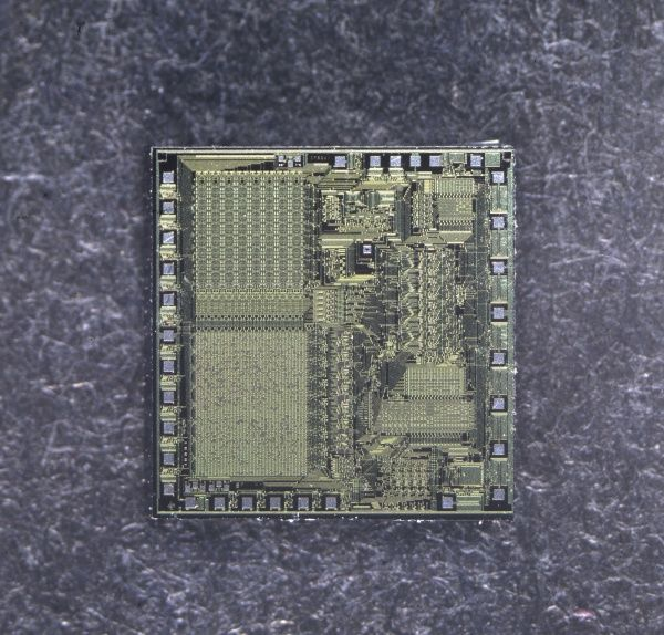 An Integrated Circuit, (IC), more commonly known as a 'Silicon Chip', a vital component of all computers. Date: 1981