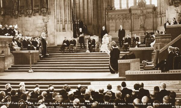Silver Jubilee - King George V and Queen Mary receive the loyal addresses from the Houses of Parliament in Westminster Hall - May 9th 1935