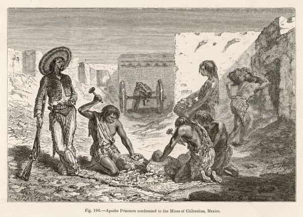 Apache prisoners condemned to the Mines of Chihuahua, Mexico