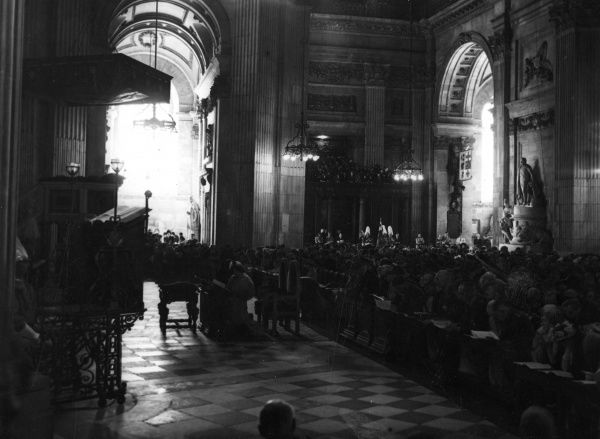 General view of the interior of St. Paul's Cathedral during the Thanksgiving Service as part of the Silver Wedding Anniversary Celebrations of King George VI and Queen Elizabeth in April 1948.  1948