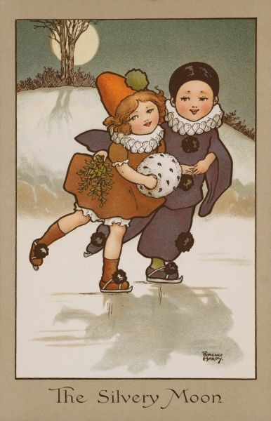 Two children dressed in clown and Pierrot costumes, skate together under a silver moon