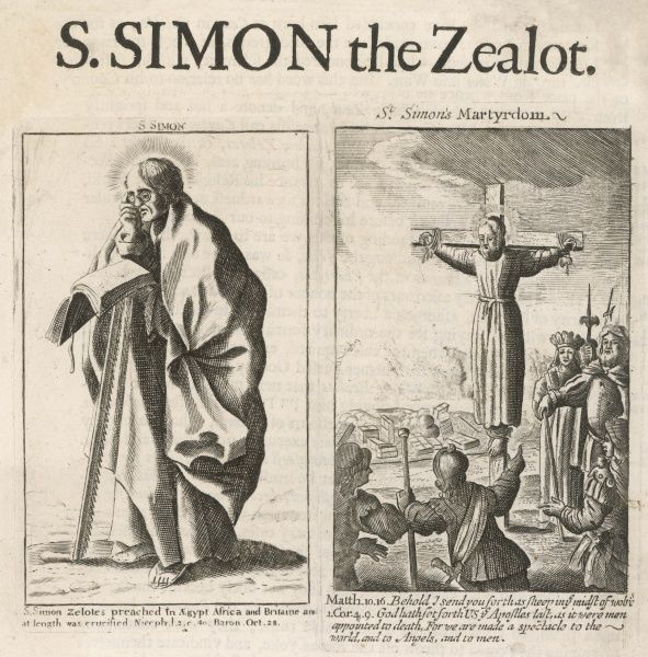 ST SIMEON, or SIMON THE ZEALOT One of the original followers of Jesus, he later preached in Egypt, then went to Persia where he was crucified