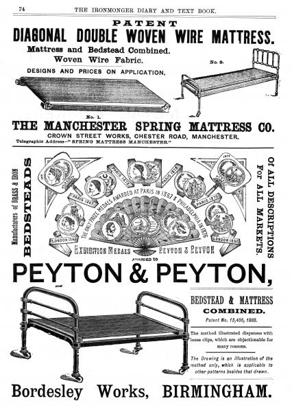 Simple brass and iron bedsteads for working people, servants and others Date: 1889