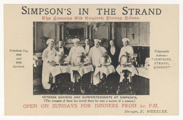 The veteran carvers and superintendents at Simpson's on the Strand, the famous London restaurant