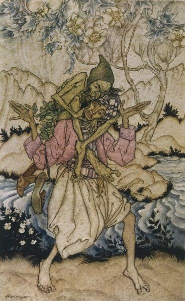 Sinbad is forced to carry the Old Man of the Sea. Date: 1933