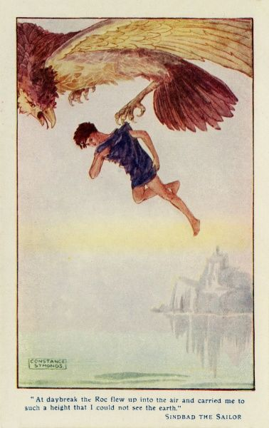 Sinbad the Sailor carried high above the earth by the Roc.  20th century
