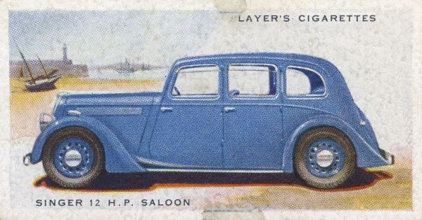 The Singer 12hp saloon is the quintessential family car of the 1930s, neat, refined and unobtrusive. Backward- opening doors are still common. Date: 1937
