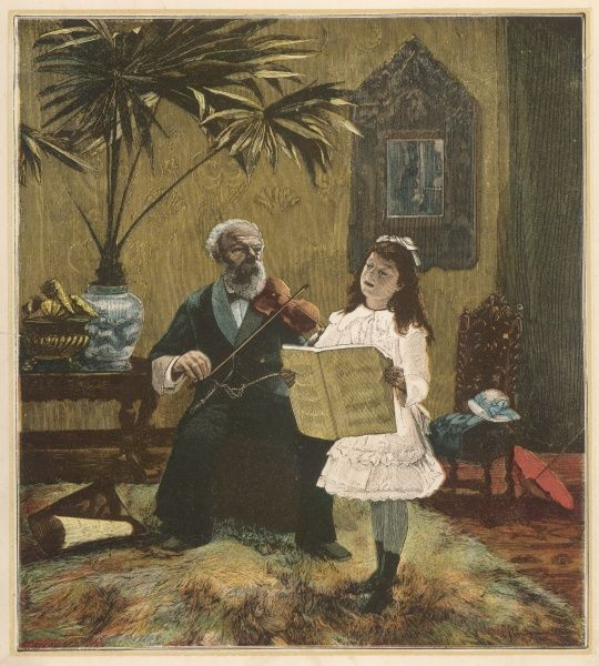 A young girl sings while her grandfather fiddles