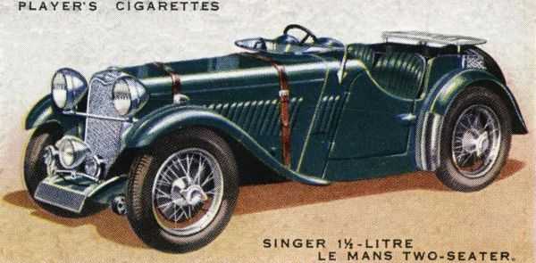 Singer 1.5 litre Le Mans two- seater has indeed performed well on the Le Mans circuit, where sturdy build is as important as high performance. Date: 1936