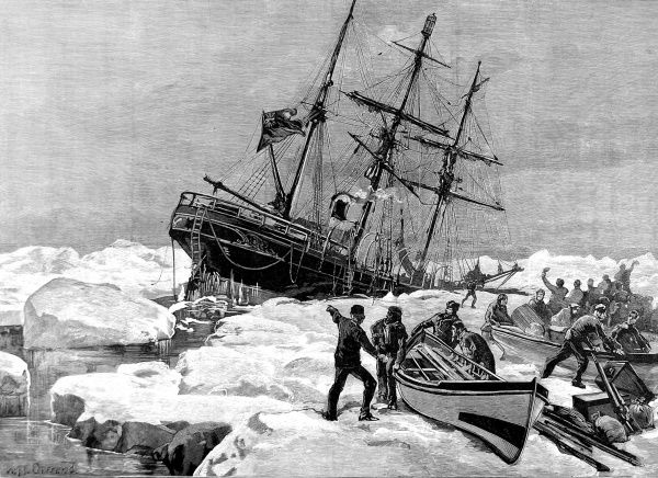 Engraving showing the yacht 'Eira', commanded by Benjamin Leigh Smith, crushed by the ice and sinking off Cape Flora, Franz Joseph Land, 21st August 1881