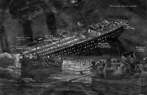 An illustration showing the Titanic sinking with all its lights on. Life boats full of survivers can be seen in the foreground. Date: 15th April 1912