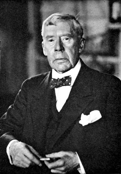 Photographic portrait of Sir Arthur Quiller-Couch, the English writer, pictured in the early 1940's. Sir Arthur was a Professor of English Literature at Cambridge University and the creator of a series of humorous novels set in a Cornish background