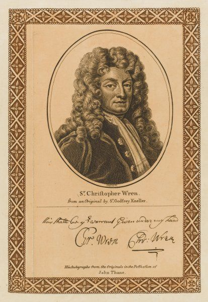 Sir CHRISTOPHER WREN architect and town planner with his autograph