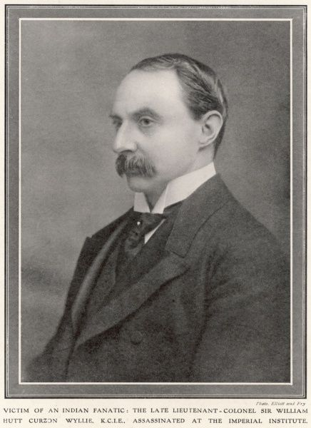 Sir WILLIAM HUTT CURZON WYLLIE administrator in India, assassinated by a student Maden Llal Dhingra whom he had befriended