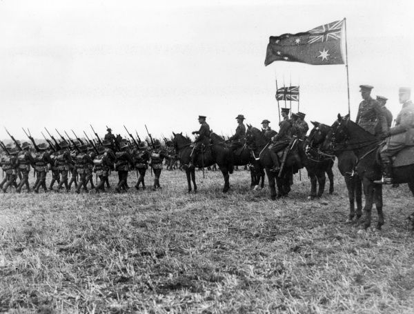 Field Marshal Sir Douglas Haig (1861-1928), British army officer, reviewing the 5th Australian Division at Ebblinghem, northern France, during the First World War.  August 1917