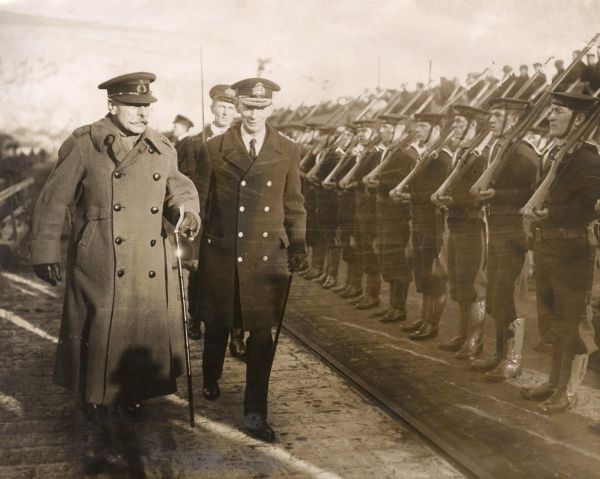Field Marshal Sir Douglas Haig (1861-1928) and Vice Admiral Sir Roger John Brownlow Keyes (1872-1945) inspecting a Royal Navy guard of honour on their arrival at Dover, Kent.  circa December 1918