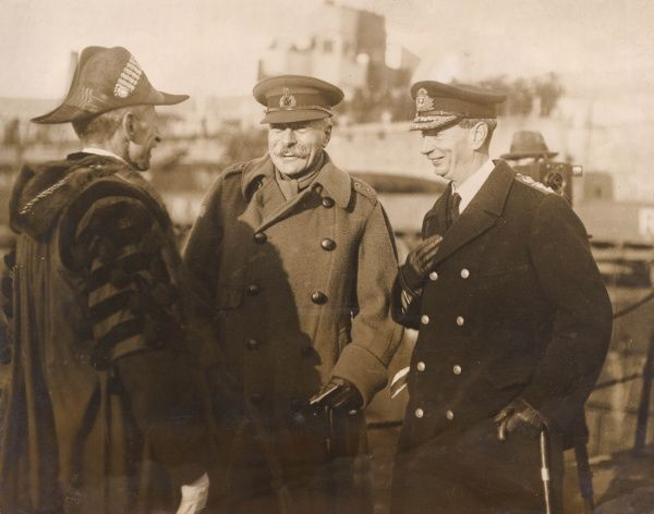 Field Marshal Sir Douglas Haig (1861-1928) and Vice Admiral Sir Roger John Brownlow Keyes (1872-1945) being received at Dover by Sir Archibald Henry Bodkin (1862-1957), Recorder of the Borough of Dover.  circa December 1918