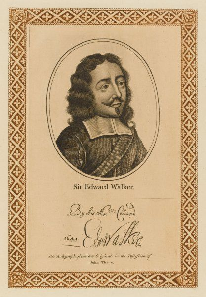 SIR EDWARD WALKER Royalist statesman, herald and antiquary with his autograph