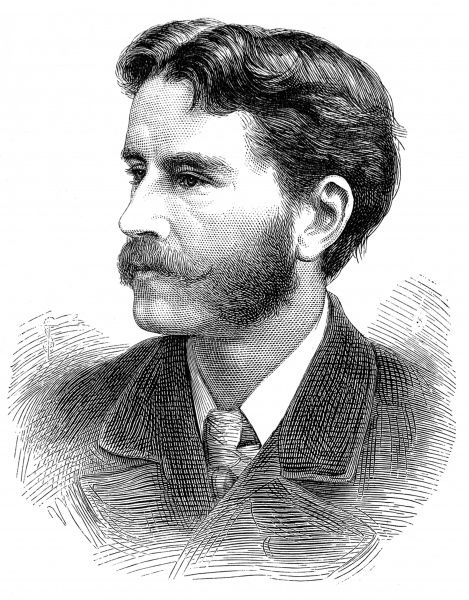 Engraved portrait of Sir Frank Dicksee (1853-1928), the English painter, pictured in 1881 when he had just been made Associate of the Royal Academy